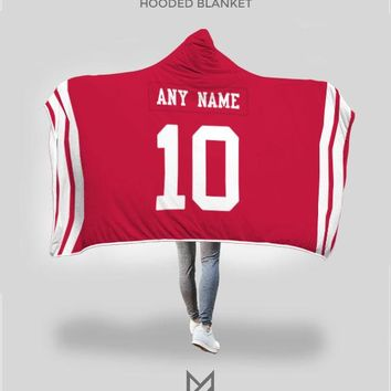 San Francisco 49ers Hooded Blanket - Personalized Any Name & Any Number
