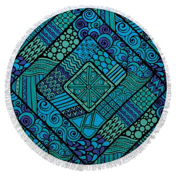 Turquoise and Blue Turkish Cotton Round Beach Towel