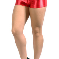BadAssLeggings Women's High Waisted Disco Shorts Medium Red