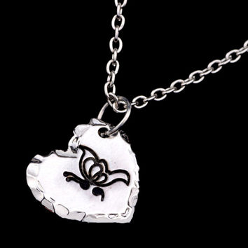 2016 Newest Butterfly Pendant Necklace Silver plated Semicolon Necklace Heart pendant Jewelry for women YLQ0096