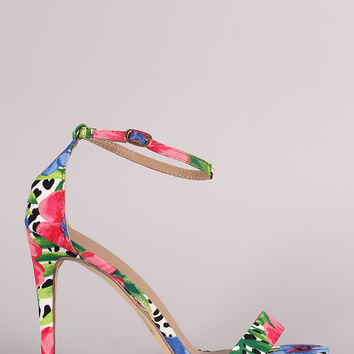 Floral Print Open Toe Stiletto Heel