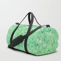 Green foliage Duffle Bag by Savousepate