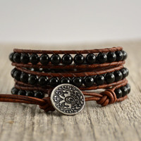 Triple wrap obsidian bracelet. Rustic bohemian black and brown bracelet
