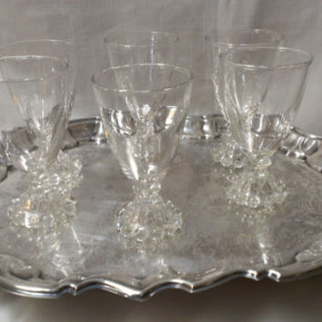 Set of 6  Berwick Boopie Wine Glasses, Juice Glasses, Candlewick Glasses (651)*