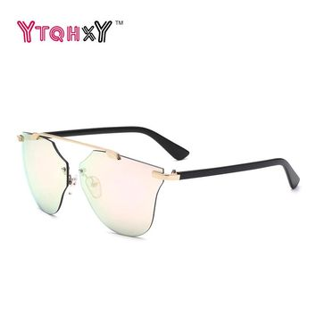 Cat Eye Aviator Sunglasses Women Vintage Fashion Metal Frame Mirror Sun Glasses Boundless Style Ladies Sunglasses UV400 Y149