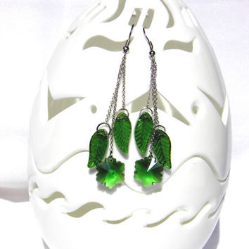 Long Dangle Earrings with green leaves and flower/ by Marywool