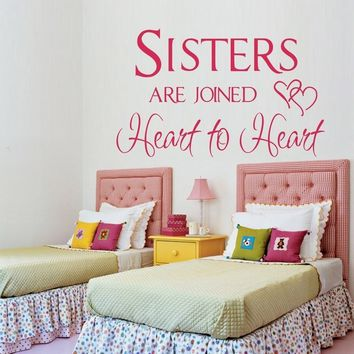 """Hot """"sisters Are Joined Heart to Heart""""wall Quotes Stickers for Girls Rooms Decor, Girl Wall Decals"""