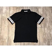 GIVENCHY 2018 summer men's high-end ribbon stitching polo shirt casual fashion tide lapel short-sleeved T-shirt F0537-1 Black