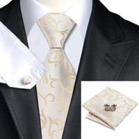 Silk Jacquard Ivories Necktie Set for Men