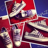 ONETOW custom dallas cowboys converse low s gray blue