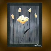 Time to Shine V.2- Original Acrylic Painting, White and Gold Flower with Four Golden Buds(Painting No. N045)