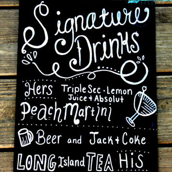 signature drink sign, wedding chalkboard, wedding menu chalkboard, bar sign, wedding decoration, signature cocktail sign, beer sign, event