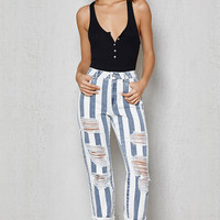 PacSun Sail Blue Stripe Ripped Mom Jeans at PacSun.com