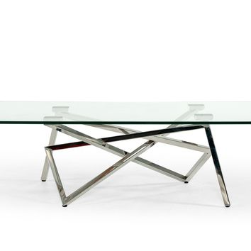 Modrest Hawkins Modern Glass & Stainless Steel Coffee Table