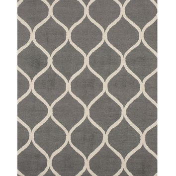 EORC Hand-tufted Wool Gray Traditional Trellis Moroccan Rug