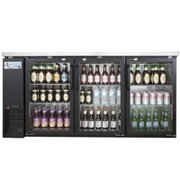 Refrigerator/Cooler Narrow Glass Door Back Bar Stainless Steel Top and LED Lighting Avantco UBB-24-72G 72""