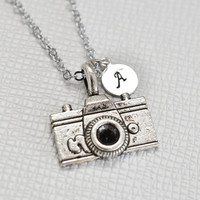 set of 2 personalized camera necklace,monogram name necklaces,photographer,bridesmaid gift,bff,custom initial jewelry,photography camera