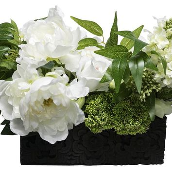 Lifelike White Lilac & Peony Floral Arrangement in Decorative Container