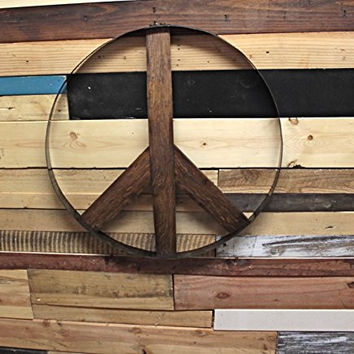 Rustic Whiskey and Wine Barrel Peace Sign