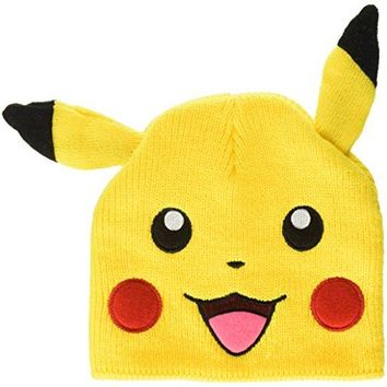 BIOWORLD Pokemon Pikachu Big Face Fleece Cap Beanie with Ears