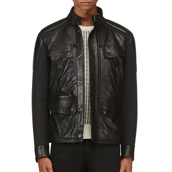 Matchless Black Wool And Leather Brooklands Jacket
