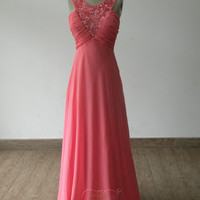 2013 Handmade Custom Pink V Neck Beaded Sequin Backless Chiffon Formal Long Prom Evening Party Bridesmaid Cocktail Homecoming Dress Gown