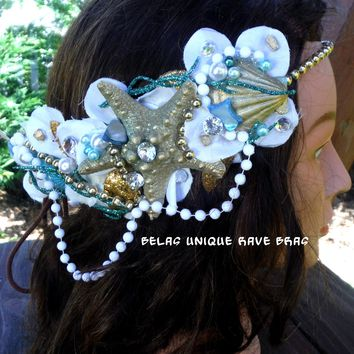 Dripping In Gold Mermaid Flower Crown Halloween Costume Headband Headpiece