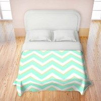 Duvet Cover Brushed Twill Twin, Queen, King from DiaNoche Designs by Monika Strigel Home Decor and Bedding Ideas - Caribbean Summer Flower Mint Chevron Yellow