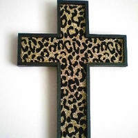 GOLD & BLACK Animal Print Wall Cross - Sparkling Gold Glitter w/ Black Velvet Animal Print
