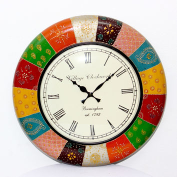 Aakashi Multi Color Block Painting Wall Clock