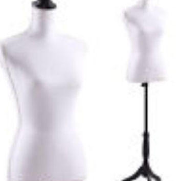 Boutique mannequin White with Black accent finial and stand jewelry display, craft show, pop-up shop, store front, clothing, crochet display