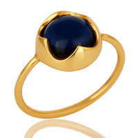 14K Yellow Gold Plated Sterling Silver Blue Corundum Gemstone Stacking Ring