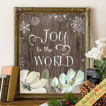 Christmas decorations, christmas gift, Joy to the world, christmas print, christmas decor, seasons greetings, winter, framed quotes art