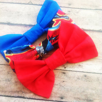 Superman Fabric Hair Bow Pack