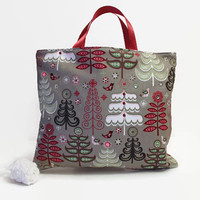 Reusable Fabric Gift Bag- Winter Christmas Trees with Birds and Cranberry Satin Ribbon Handles... Free Pine Cone Ornament Ready to Ship