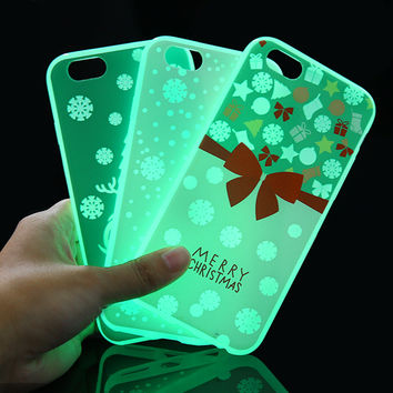 "For iPhone 6 6s Plus Cases Cute Style Luminous Covers for iPhone 6 6s Plus 4.7"" 5.5"" with Christmas Pattern Phone back shell"