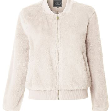 LE3NO Womens Fluffy Faux Fur Fleece Long Sleeve Bomber Coat Jacket with Pockets