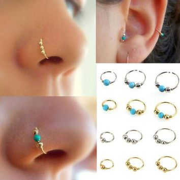ac PEAPO2Q 2017 New Fashion Stainless Steel Nose Beads Nostril Round Body Piercing Jewelry Simple Design Best Gift