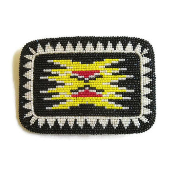 Vintage Native American Seed Bead Belt Buckle in Red, Yellow, White and Black