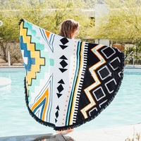 Geometric Tribal Print Boho Yoga Round Tapestry Towel Table Cover Wall Hanging
