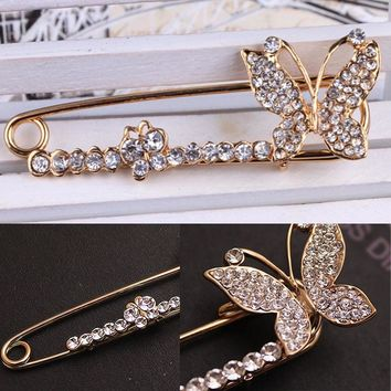 Butterfly Rhinestone Fashion Brooch