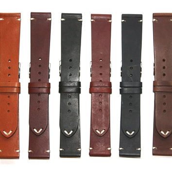 Toscana Flat Genuine Horween Leather Watch Strap
