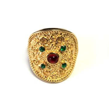 Sterling Silver And 18kt Yellow Gold Ovelry Byzantine Round Ring