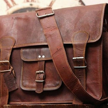 Genuine Leather Satchel Leather Bag Office Bag Shoulder Bag School College Macbook Leather Messenger Bag