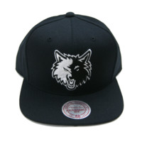 Minnesota Timberwolves Tonal White on Black Snapback