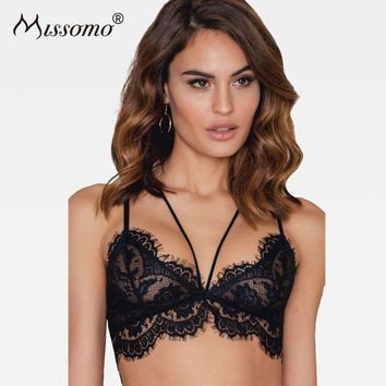 Missomo Solid Black Sexy Soft Lace Bras Push Up Fitted Soft Adjustable Straps Bralettes Sheer Mesh Patchwork Lace Up Underwear