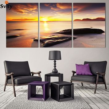 3Piece Wall Art Seascape Blue Ocean Sunset Sea stone Painting HD print On canvas Modular Picture decoration poster F185 no frame