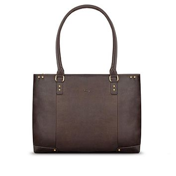 """Solo New York - Vintage Jay Leather Espresso Blue Lining 15.6"""" Carry All Bag"""