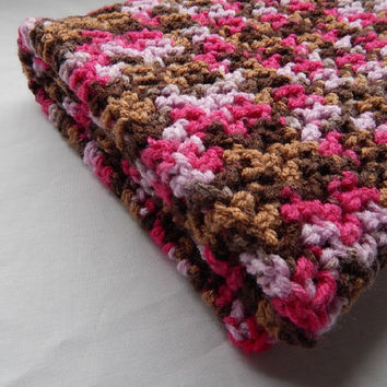Pink Camo Baby Girl Blanket Crochet Camouflage Lap Blanket Crochet Throw Blanket