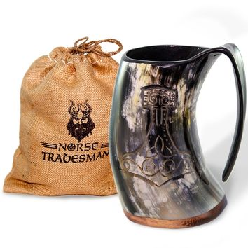 "Viking Drinking Horn Tankard – The ""Mjolnir"""
